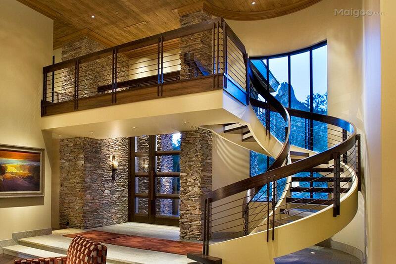 现代风格复式旋转楼梯设计 别墅复式楼梯间装修图片欣赏图片
