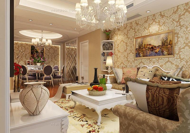 欧式客厅沙发硅藻泥背景墙装修效果图(11/23)图片