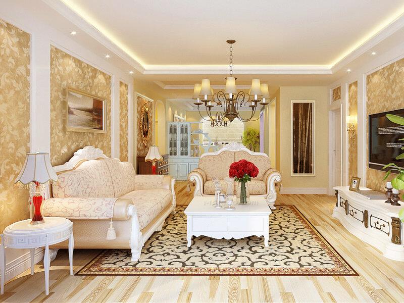 欧式田园风格140平三房两厅装修效果图图片