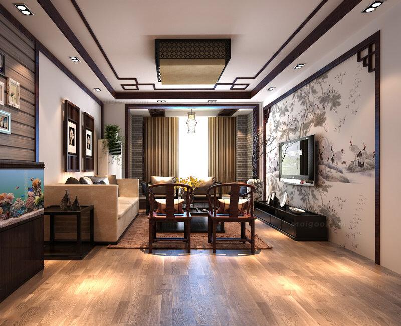 160平三居室装修效果图 8万元诠释新中式风格(7/10)