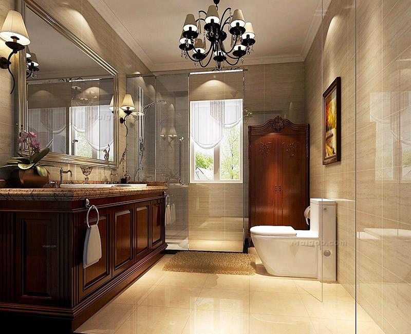 5万以上精装修美式卫生间设计效果图