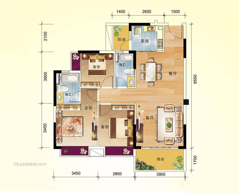 100平米3室一厅户型图 100平方3房屋设计图