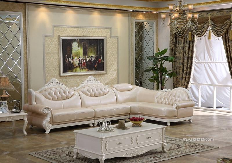 欧式真皮沙发图片 欧式客厅沙发摆放效果图