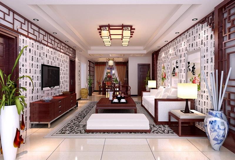 中式风格三室两厅装修效果图欣赏