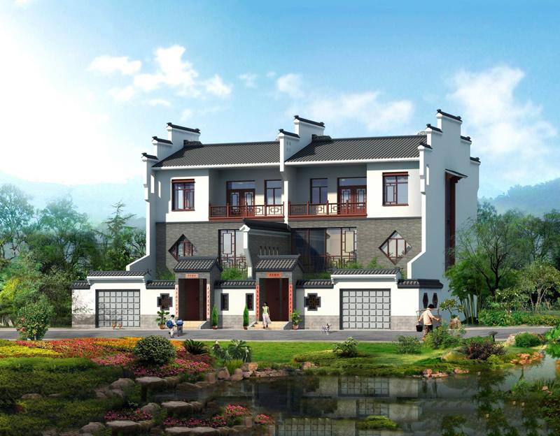 仿古中式风格农村自建房设计图 经典徽派建筑风格清新呈现图片