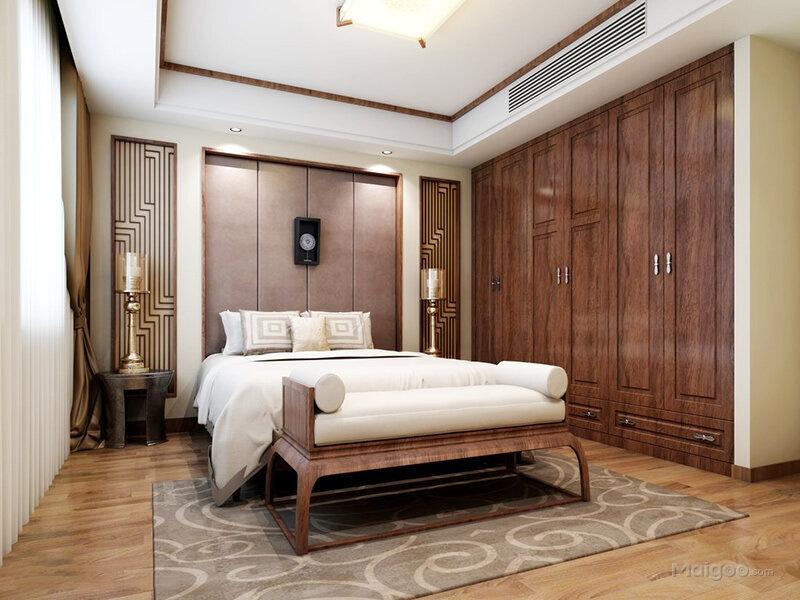 新中式风格卧室床头软包背景墙嵌入式实木衣柜装修效果图(5/9)图片
